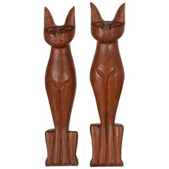 Pair of Midcentury Carved Cats