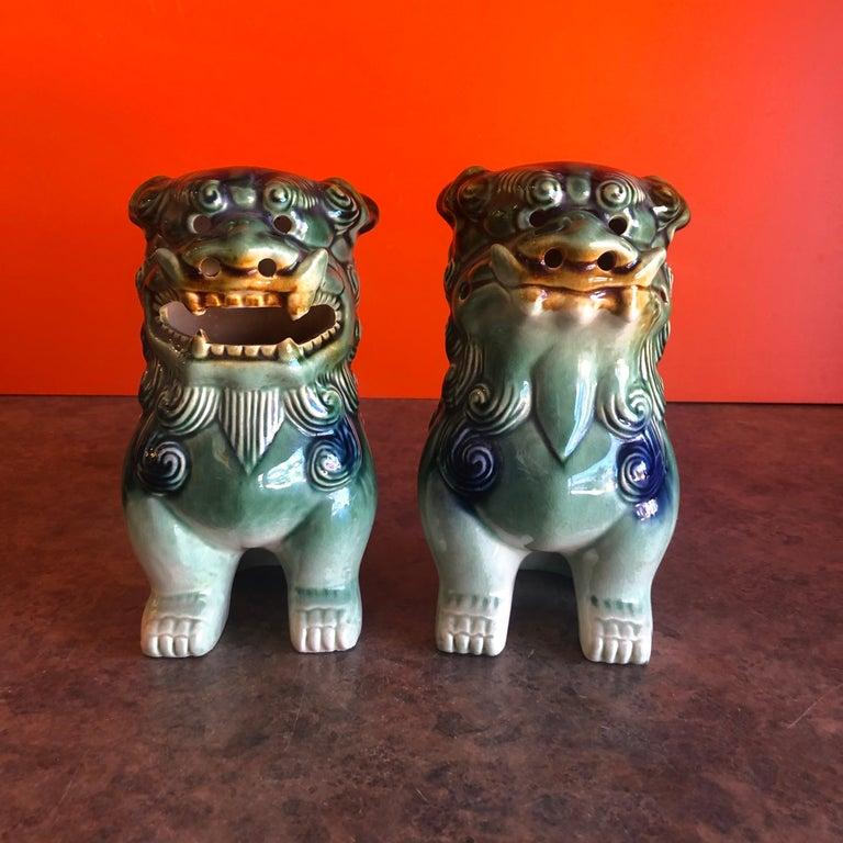 Mid-Century Modern Pair of Midcentury Ceramic Foo Dogs / Bookends