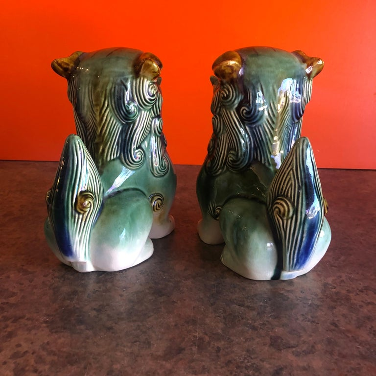 Pair of Midcentury Ceramic Foo Dogs / Bookends 1