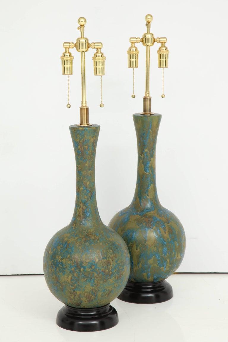 Pair of Italian Ceramic Lamps For Sale 2