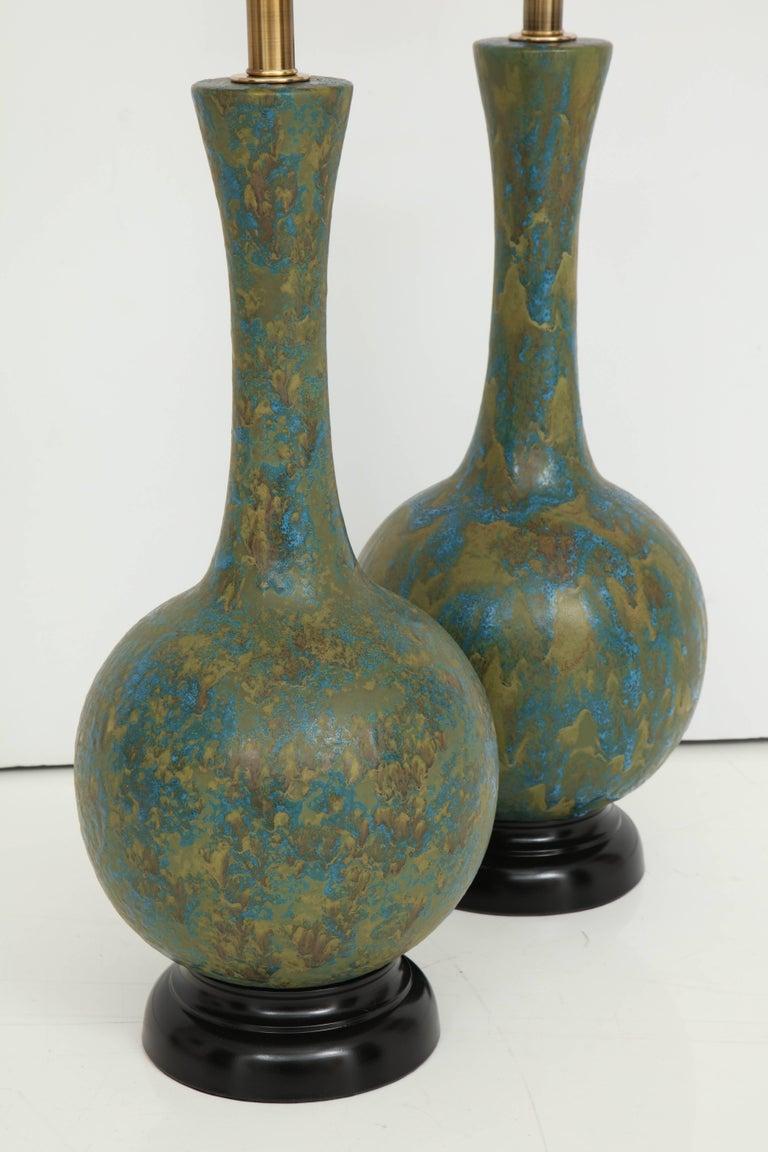 Pair of Italian Ceramic Lamps For Sale 3