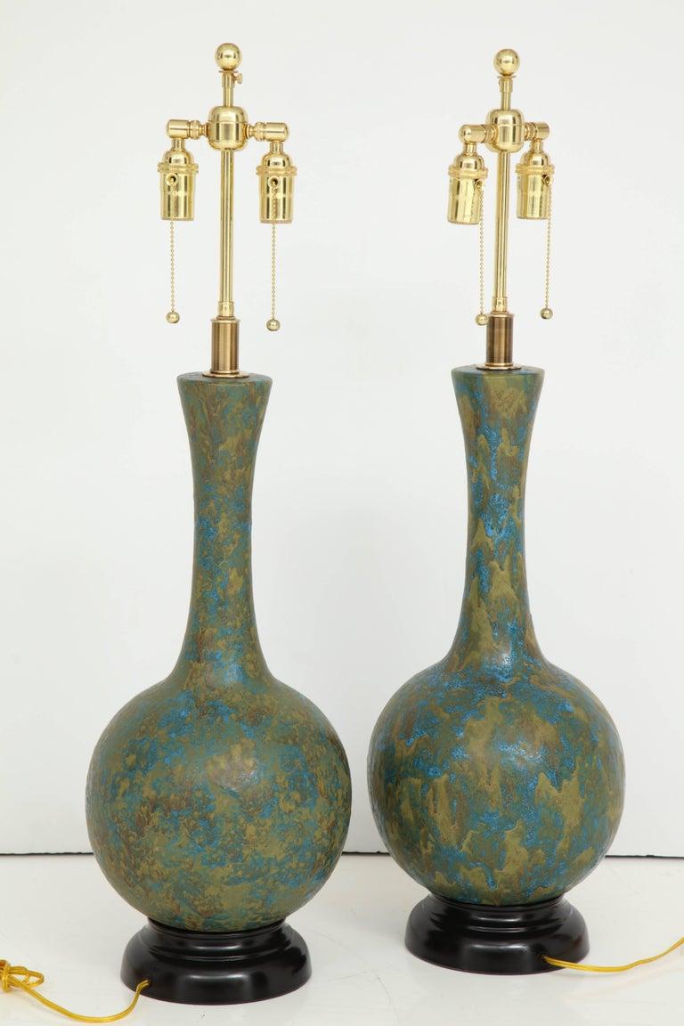 Pair of Italian Ceramic Lamps For Sale 4
