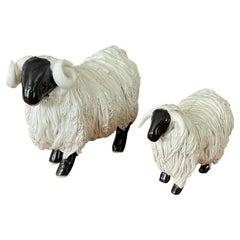 Pair of Midcentury Ceramic Rams / Sheep Figurines