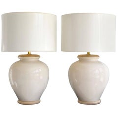Pair of Midcentury Ceramic Urn Form Table Lamps