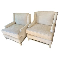 Pair of Midcentury Chairs in Bouclé Upholstery with Lacquered Wood Frame