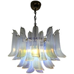 Pair of Midcentury Chandelier, La Murrina in Opalescent Murano Glass, circa 1970
