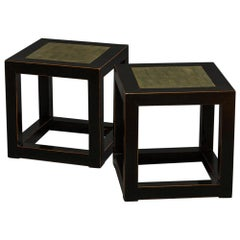 Pair of Midcentury Chinese Black Lacquer Cube Stone Top Tables
