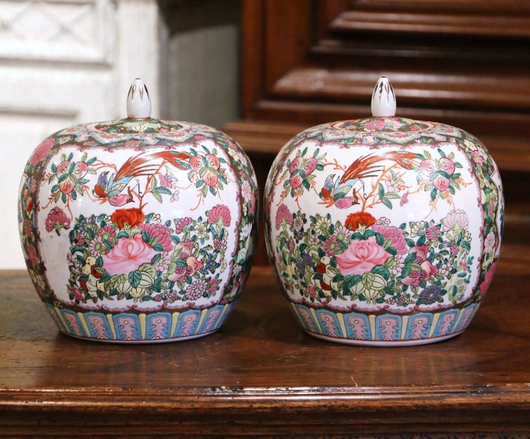 Hand-Crafted Pair of Mid-Century Chinese Famille Rose Porcelain Melon Jars For Sale