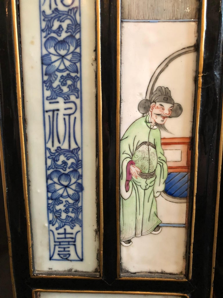 Pair of Midcentury Chinoiserie Table Lamps with Qing Porcelain Plaques In Fair Condition For Sale In Seattle, WA