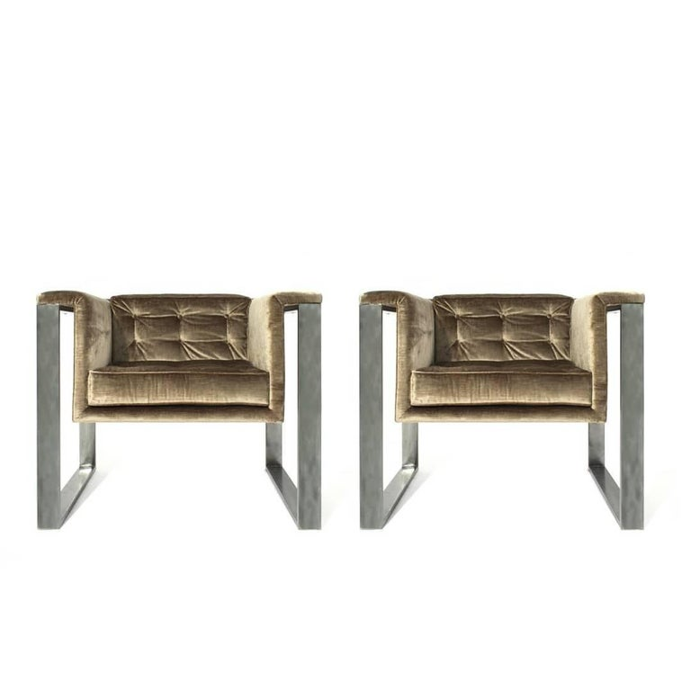 Italian Pair of Midcentury Chrome and Velvet Club Chairs For Sale