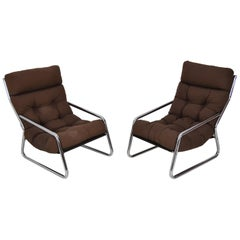 Pair of Midcentury Chrome Armchairs, 1970s