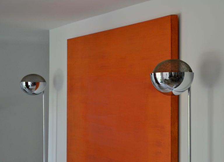 Pair of Midcentury Chrome Floor Lamps 4