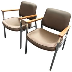 Pair of Midcentury Chrome Office Chairs