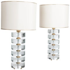 Pair of Mid Century Clear Murano Glass Table Lamps with Champagne Colored Shades