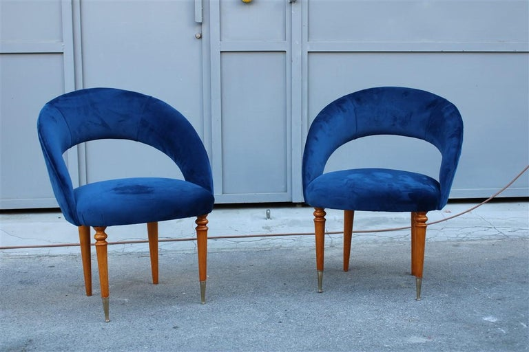 Pair of midcentury cobalt blue brass round bedroom chairs maple wood.