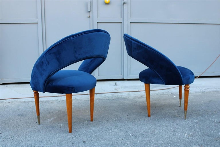 Mid-Century Modern Pair of Midcentury Cobalt Blue Brass Round Bedroom Chairs Maple Wood For Sale