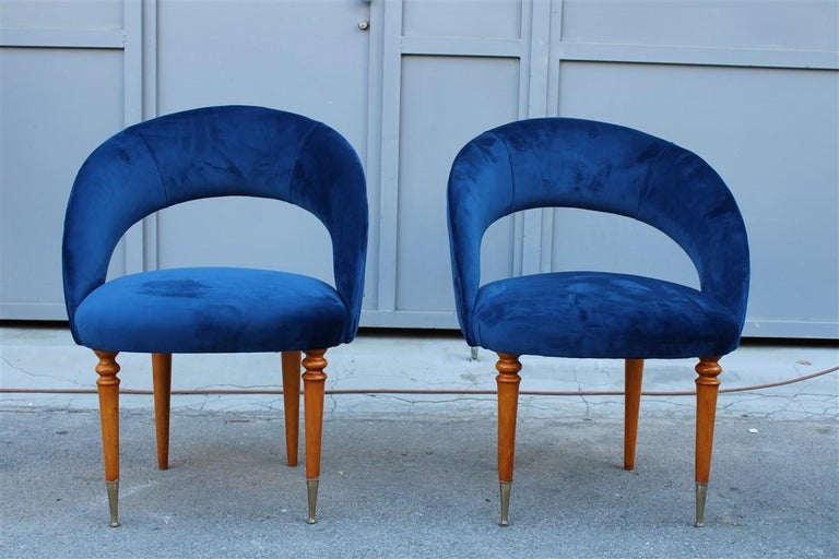 Mid-20th Century Pair of Midcentury Cobalt Blue Brass Round Bedroom Chairs Maple Wood For Sale
