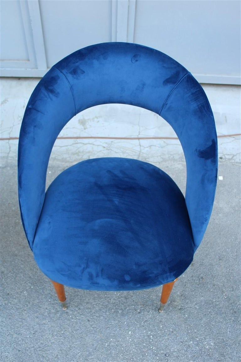 Velvet Pair of Midcentury Cobalt Blue Brass Round Bedroom Chairs Maple Wood For Sale