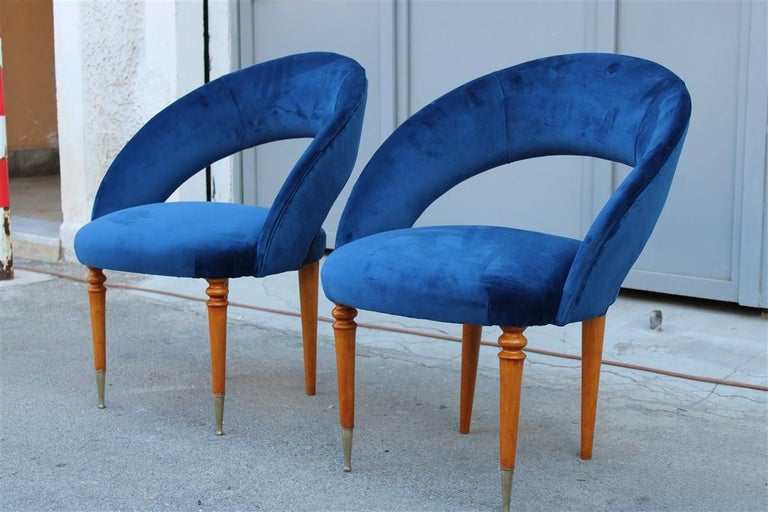 Pair of Midcentury Cobalt Blue Brass Round Bedroom Chairs Maple Wood For Sale 1
