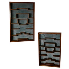Pair of Midcentury Collectors Wall Shelves