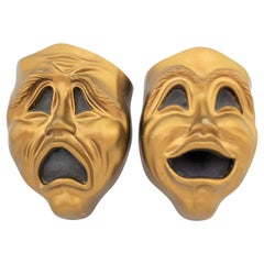 Pair of Mid-Century Comedy & Tragedy Mask Novelty Wall Speakers or Sculptures