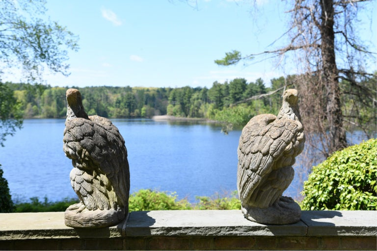 Pair of Midcentury Concrete Garden Eagles In Good Condition For Sale In Essex, MA