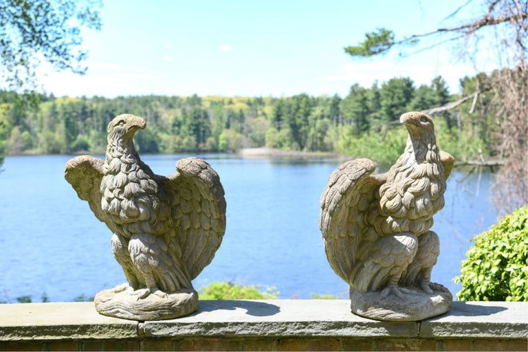 Pair of Midcentury Concrete Garden Eagles For Sale 1