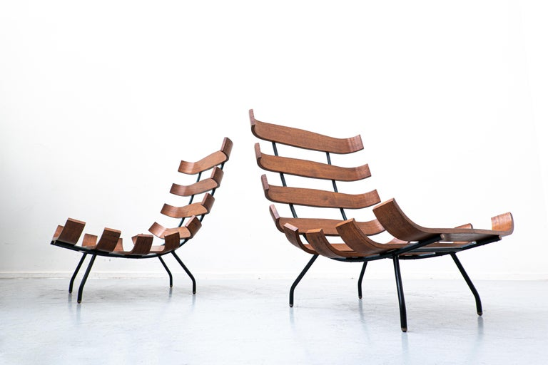 Pair of Mid-Century Costela Lounge Chairs by Carlo Hauner and Martin Eisler For Sale 5