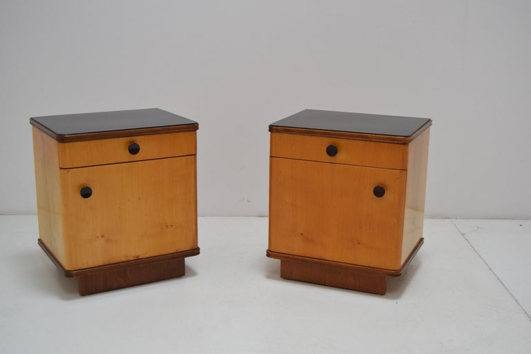 Mid-Century Modern Pair of Midcentury Czechoslovakian Bedside Tables, 1960s For Sale
