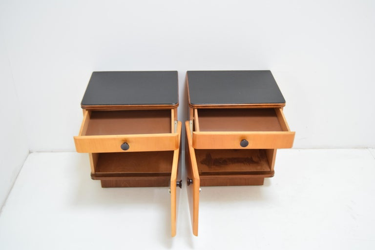 Wood Pair of Midcentury Czechoslovakian Bedside Tables, 1960s For Sale