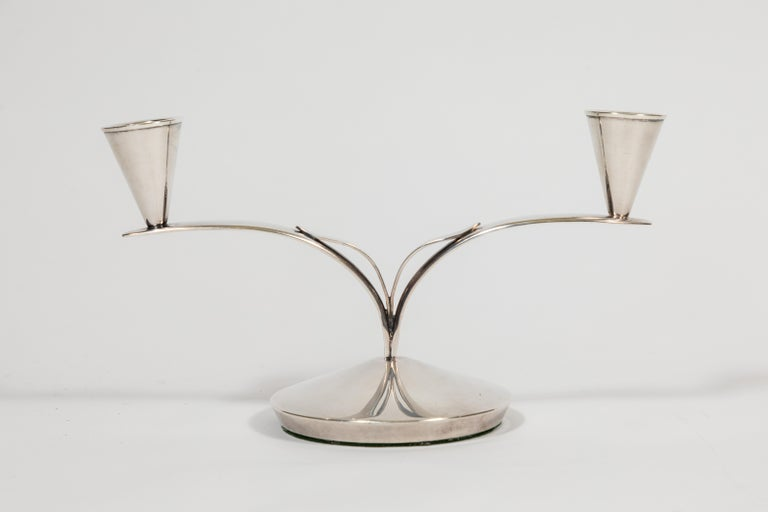 Pair of Midcentury Danish 2-Arm Silver-Plated Candleholders In Good Condition For Sale In Pasadena, CA