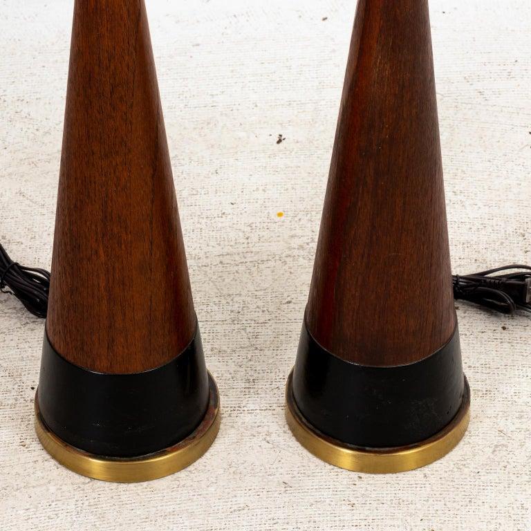 Teak Pair of Mid Century Danish Lamps