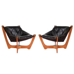 Pair of Midcentury Danish Modern Black Leather Lounge Chairs by Odd Knutsen