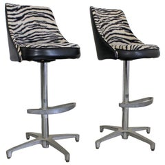Pair of Midcentury Danish Modern Chromcraft Zebra Print Swivel Bar Stools