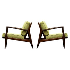 Pair of Mid Century Danish Modern IB Kofod-Larsen Lounge Chairs in Walnut
