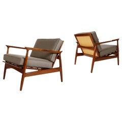 Pair of Mid Century Danish Modern Lounge Chairs by IB Kofod Larsen in Walnut