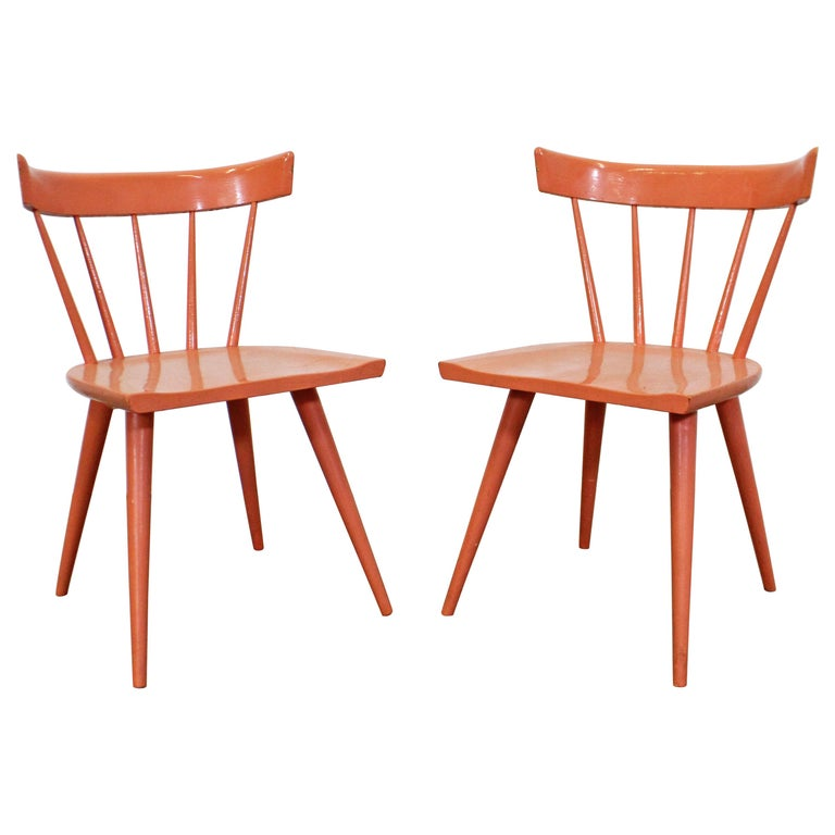 Pair of Midcentury Danish Modern Paul McCobb Spindle Back Side Dining Chairs For Sale