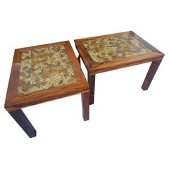 Pair of Mid Century Danish Modern Rosewood End Tables with Inset Ceramic Tile
