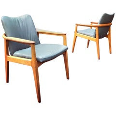 Pair of Midcentury Danish Modern Teak and Leather Chairs by Sigvard Bernadotte