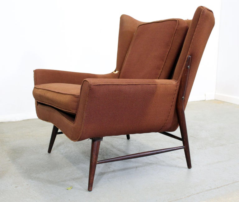 Pair of Mid Century Danish Modern Wingback Lounge Chairs In Fair Condition For Sale In Wilmington, DE