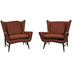 Pair of Midcentury Danish Modern Wingback Lounge Chairs