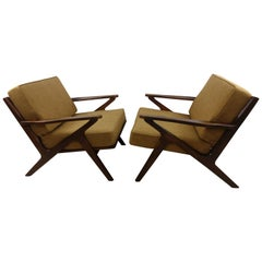 Pair of Mid Century Danish Modern Z Lounge Chairs, c 1960+