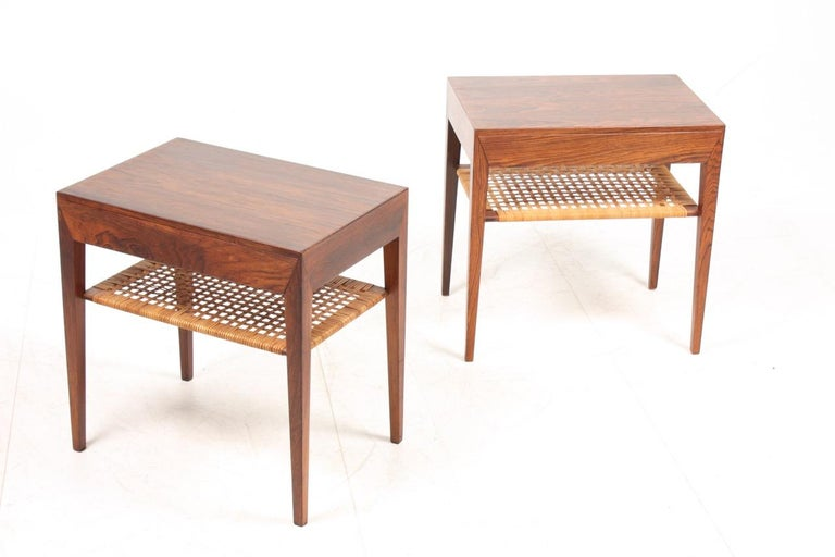 Stunning pair of nightstands in rosewood and cane. Designed by Severin Hansen for Haslev Furniture of Denmark in the 1960s. Great original condition.