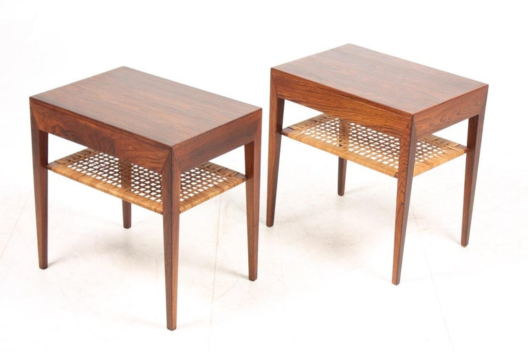 Scandinavian Modern Pair of Midcentury Danish Nightstands in Rosewood by Severin Hansen, 1960s