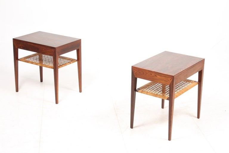 Cane Pair of Midcentury Danish Nightstands in Rosewood by Severin Hansen, 1960s