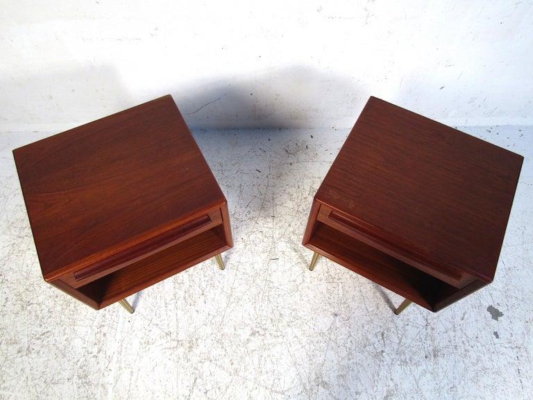 Brass Pair of Midcentury Danish Teak Nightstands For Sale