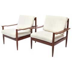 Pair of Midcentury Danish Teakwood Easy Chairs in the Manner of Grete Jalk