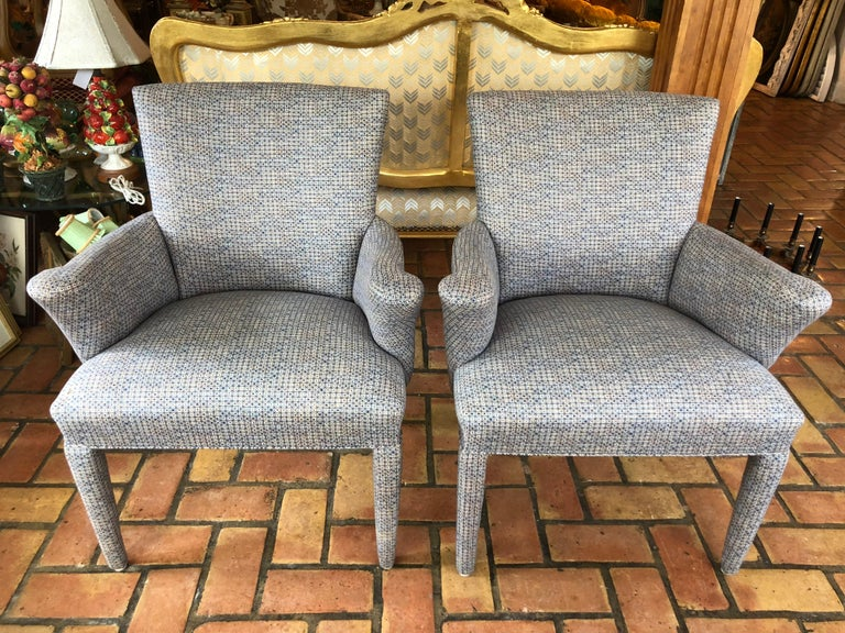 Pair of Mid-Century Danish upholstered chairs. Soft and comfortable for any room. Fun atomic fabric with grey blue tones. Fabric is in excellent condiion . No fading or sunwear. Lead image is deceiving due to shadows. See all photos. These are also