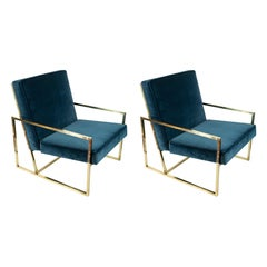 Pair of Midcentury Design Italian Brass Frame and Velour Armchairs