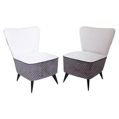 Pair of Midcentury Design Reupholstered Slipper Chairs, Italy, 1950s